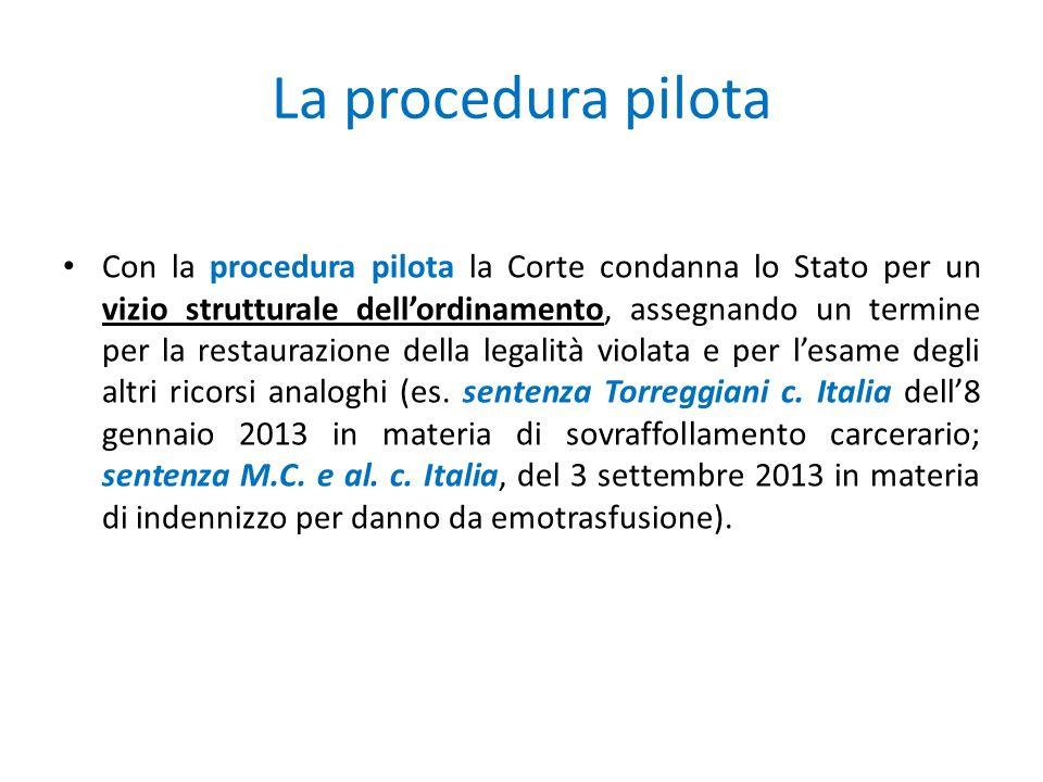 La procedura pilota Con la procedura pilota la Corte condanna lo Stato per un vizio strutturale dell'ordinamento, assegnando un termine per la restaurazione della legalità violata e per l'esame degli altri ricorsi analoghi (es.