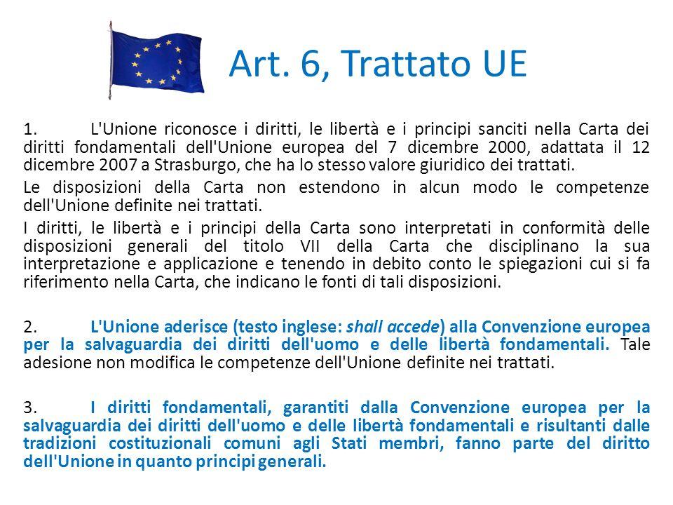 Art. 6, Trattato UE 1.L'Unione riconosce i diritti, le libertà e i principi sanciti nella Carta dei diritti fondamentali dell'Unione europea del 7 dic