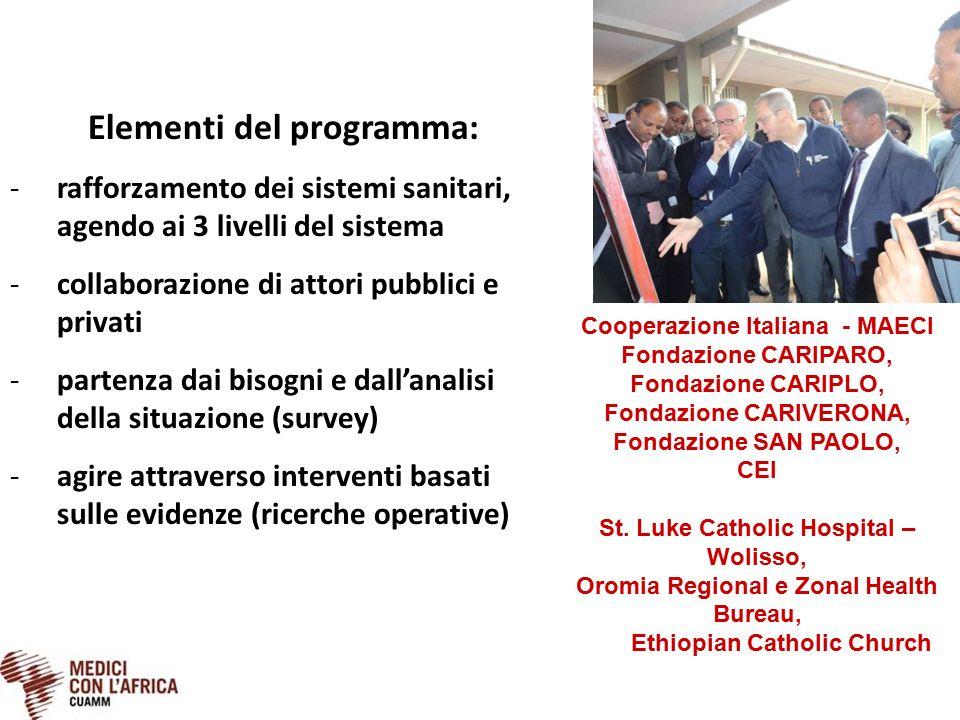 Elementi del programma: -rafforzamento dei sistemi sanitari, agendo ai 3 livelli del sistema -collaborazione di attori pubblici e privati -partenza da