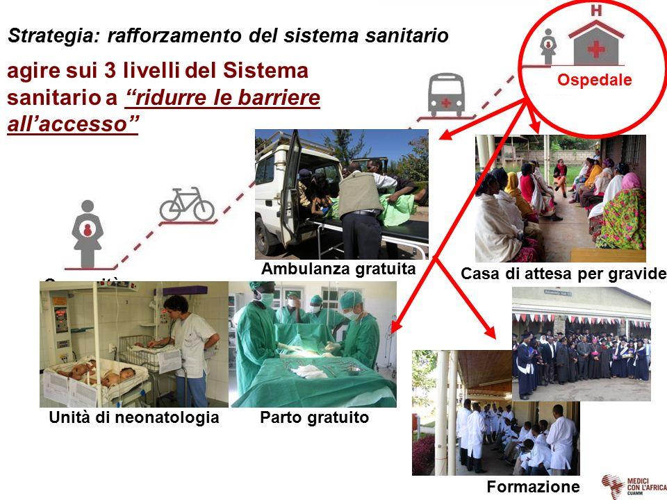 """Strategia: rafforzamento del sistema sanitario Ospedale Comunità Strutture sanitarie periferiche agire sui 3 livelli del Sistema sanitario a """"ridurre"""