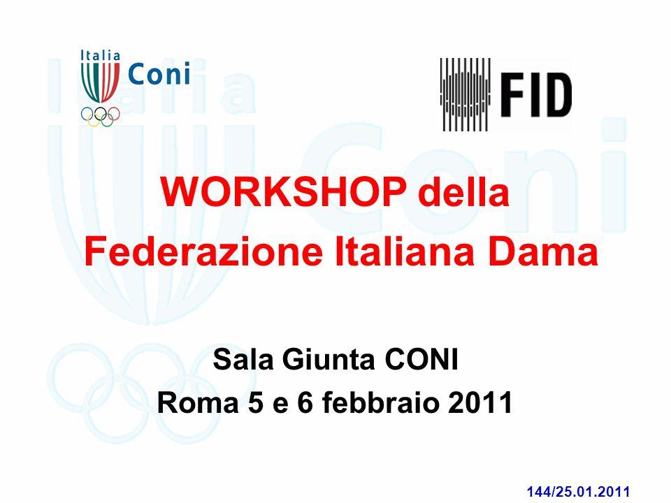 WORKSHOP della Federazione Italiana Dama Sala Giunta CONI Roma 5 e 6 febbraio 2011 144/25.01.2011 195/24.12.2010