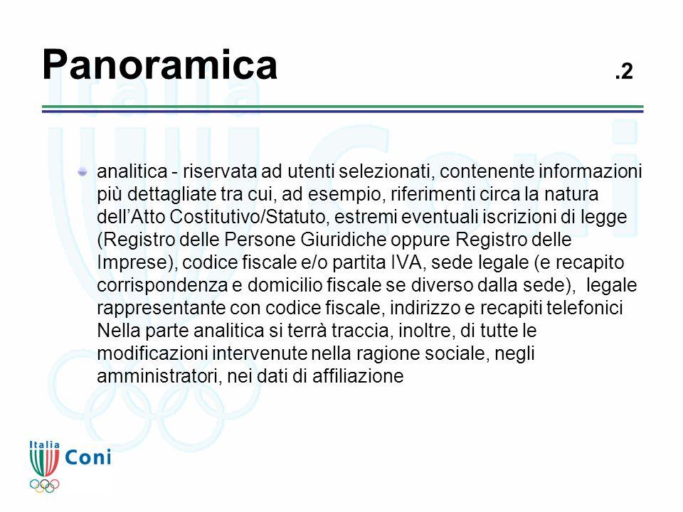 Panoramica.2 analitica - riservata ad utenti selezionati, contenente informazioni più dettagliate tra cui, ad esempio, riferimenti circa la natura del