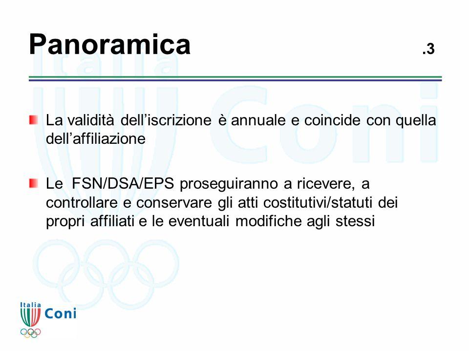 Panoramica.3 La validità dell'iscrizione è annuale e coincide con quella dell'affiliazione Le FSN/DSA/EPS proseguiranno a ricevere, a controllare e co