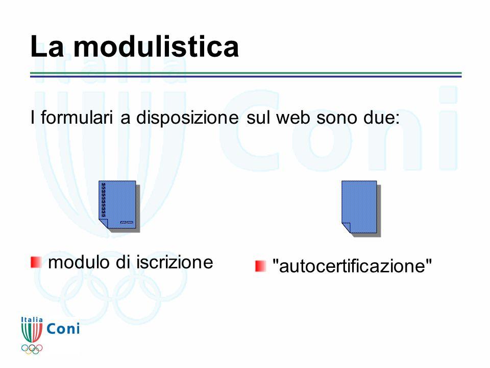 La modulistica modulo di iscrizione autocertificazione I formulari a disposizione sul web sono due: