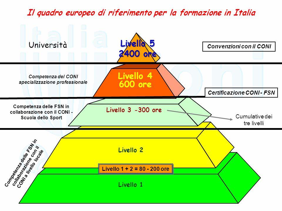 Il quadro europeo di riferimento per la formazione in Italia Livello 1 Livello 2 Livello 3 -300 ore Livello 4 600 ore Livello 5 2400 ore Università Co