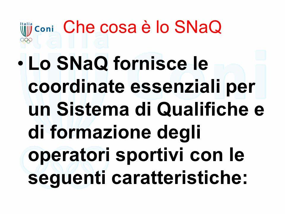 Che cosa è lo SNaQ Lo SNaQ fornisce le coordinate essenziali per un Sistema di Qualifiche e di formazione degli operatori sportivi con le seguenti caratteristiche: