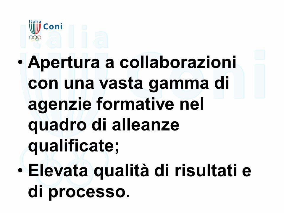 Apertura a collaborazioni con una vasta gamma di agenzie formative nel quadro di alleanze qualificate; Elevata qualità di risultati e di processo.