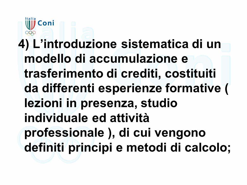4) L'introduzione sistematica di un modello di accumulazione e trasferimento di crediti, costituiti da differenti esperienze formative ( lezioni in presenza, studio individuale ed attività professionale ), di cui vengono definiti principi e metodi di calcolo;