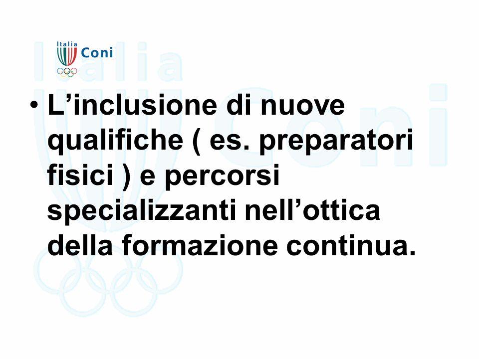 L'inclusione di nuove qualifiche ( es. preparatori fisici ) e percorsi specializzanti nell'ottica della formazione continua.