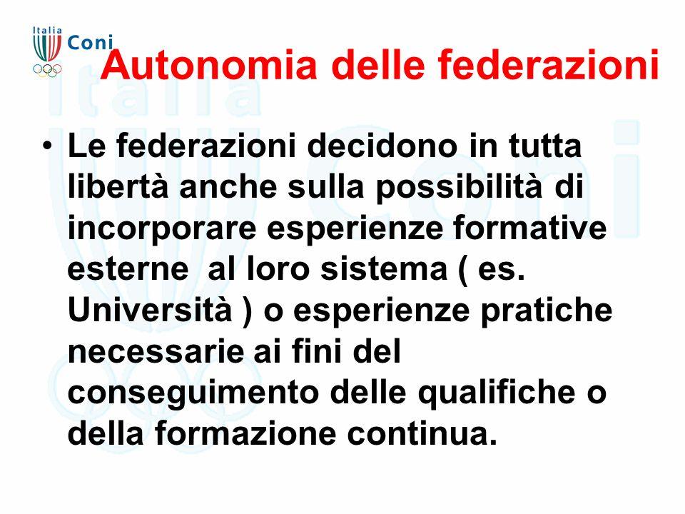 Autonomia delle federazioni Le federazioni decidono in tutta libertà anche sulla possibilità di incorporare esperienze formative esterne al loro sistema ( es.