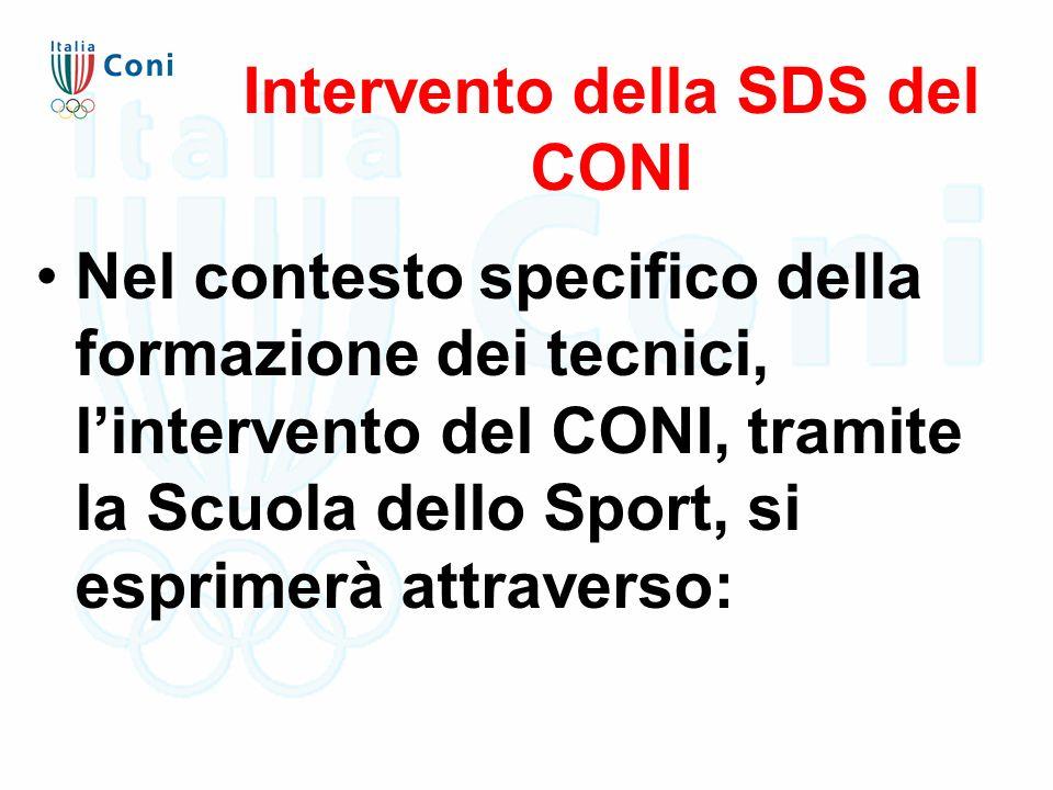 Intervento della SDS del CONI Nel contesto specifico della formazione dei tecnici, l'intervento del CONI, tramite la Scuola dello Sport, si esprimerà
