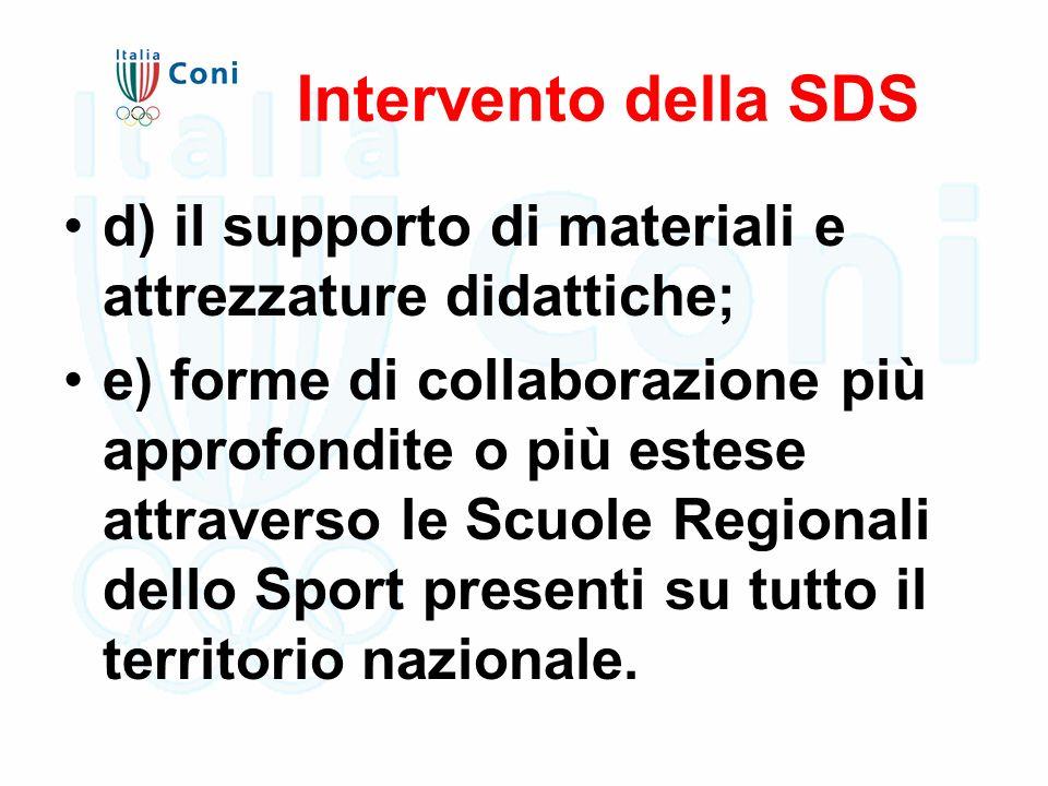 Intervento della SDS d) il supporto di materiali e attrezzature didattiche; e) forme di collaborazione più approfondite o più estese attraverso le Scuole Regionali dello Sport presenti su tutto il territorio nazionale.