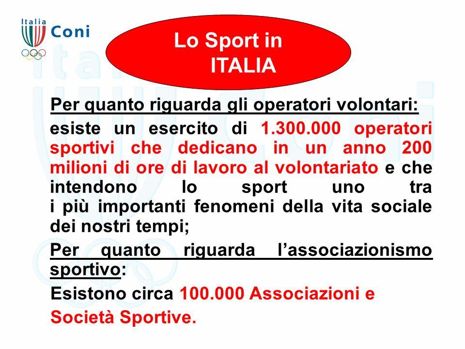 Per quanto riguarda gli operatori volontari: esiste un esercito di 1.300.000 operatori sportivi che dedicano in un anno 200 milioni di ore di lavoro a