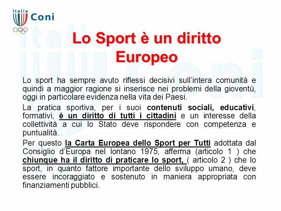 Lo Sport è un diritto Europeo Lo sport ha sempre avuto riflessi decisivi sull'intera comunità e quindi a maggior ragione si inserisce nei problemi del