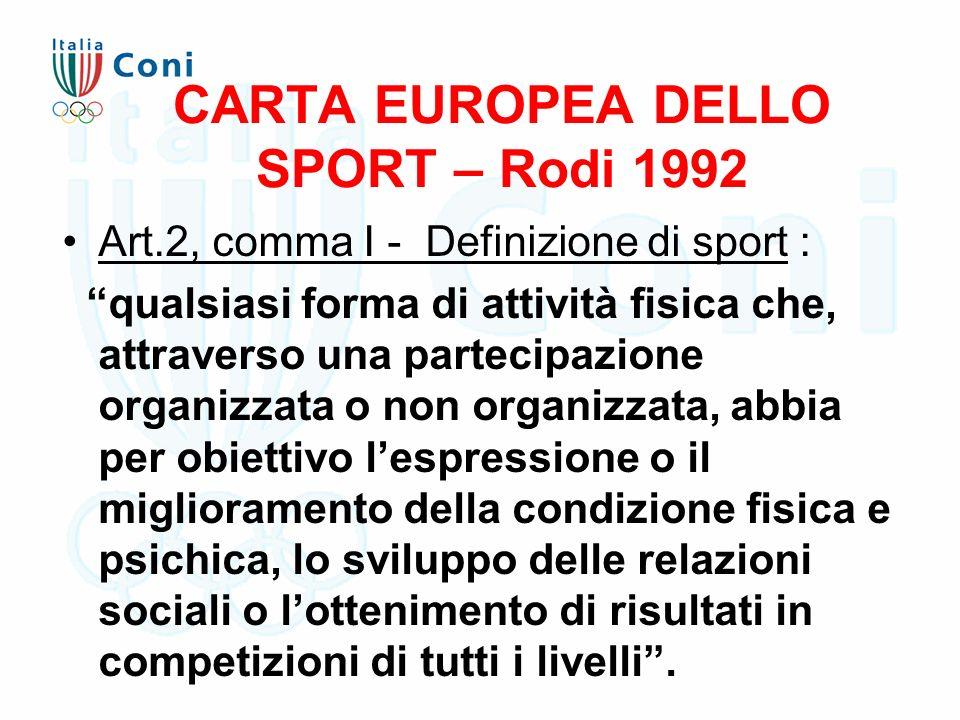 """CARTA EUROPEA DELLO SPORT – Rodi 1992 Art.2, comma I - Definizione di sport : """"qualsiasi forma di attività fisica che, attraverso una partecipazione o"""