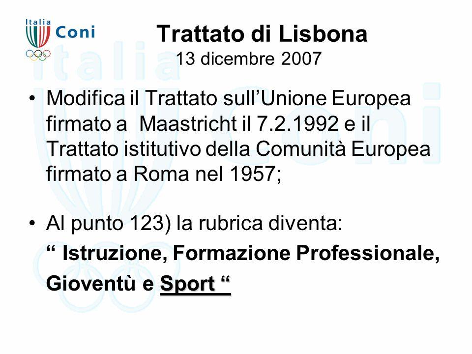 Trattato di Lisbona 13 dicembre 2007 Modifica il Trattato sull'Unione Europea firmato a Maastricht il 7.2.1992 e il Trattato istitutivo della Comunità Europea firmato a Roma nel 1957; Al punto 123) la rubrica diventa: Istruzione, Formazione Professionale, Sport Gioventù e Sport