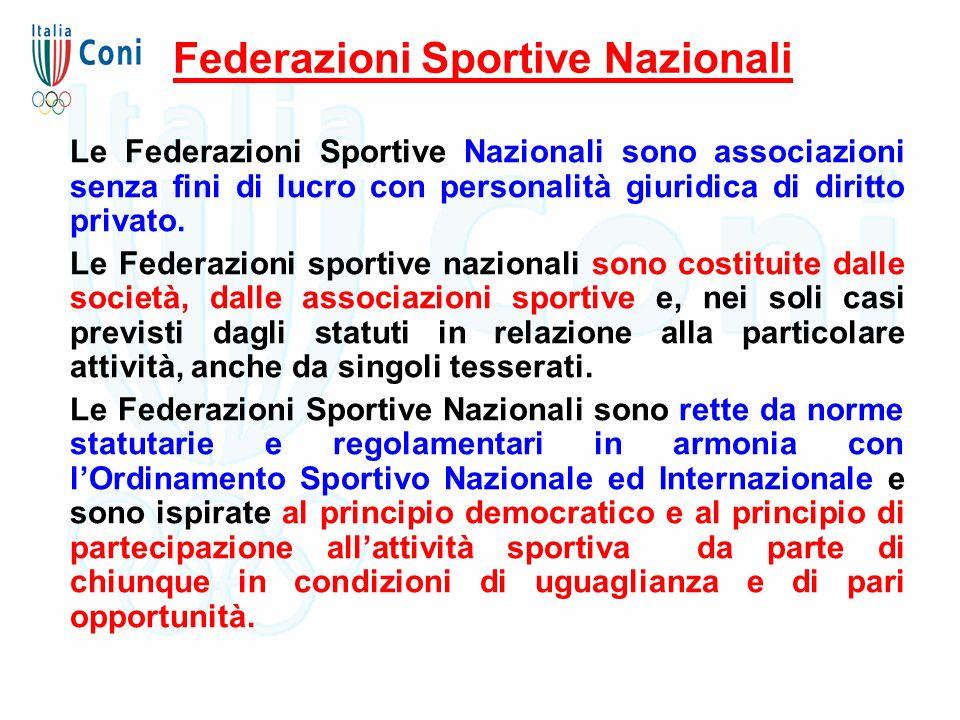 Federazioni Sportive Nazionali Le Federazioni Sportive Nazionali sono associazioni senza fini di lucro con personalità giuridica di diritto privato. L