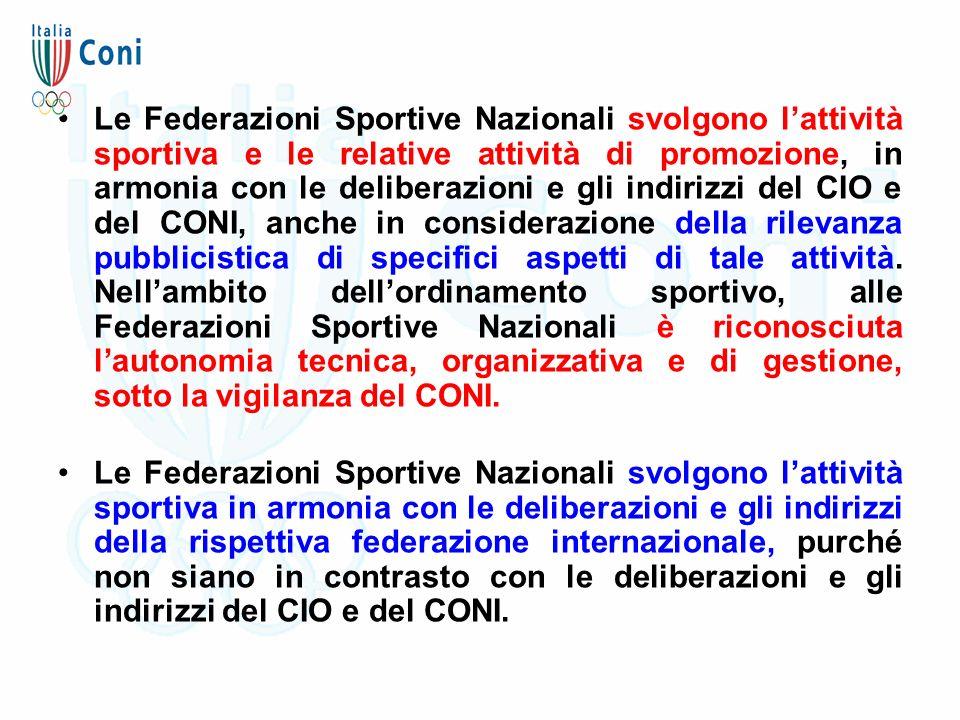 Le Federazioni Sportive Nazionali svolgono l'attività sportiva e le relative attività di promozione, in armonia con le deliberazioni e gli indirizzi d
