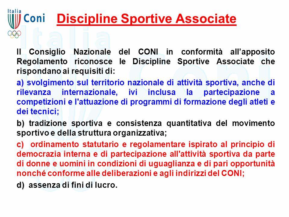 Discipline Sportive Associate Il Consiglio Nazionale del CONI in conformità all'apposito Regolamento riconosce le Discipline Sportive Associate che ri