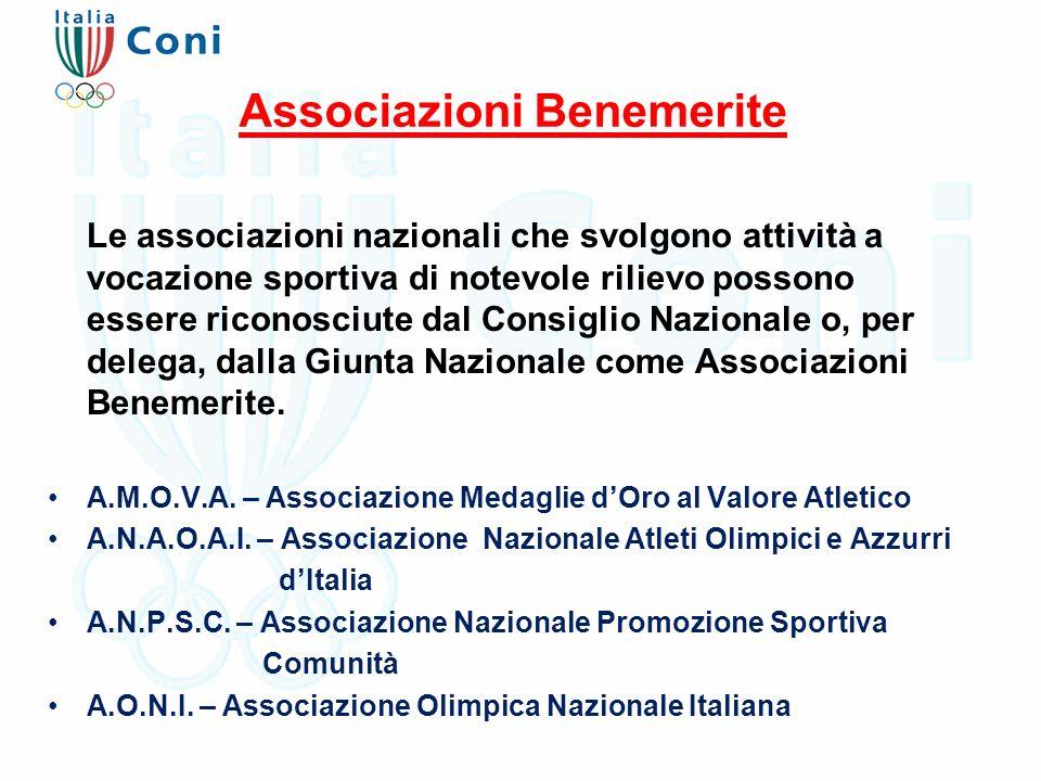 Associazioni Benemerite Le associazioni nazionali che svolgono attività a vocazione sportiva di notevole rilievo possono essere riconosciute dal Consiglio Nazionale o, per delega, dalla Giunta Nazionale come Associazioni Benemerite.