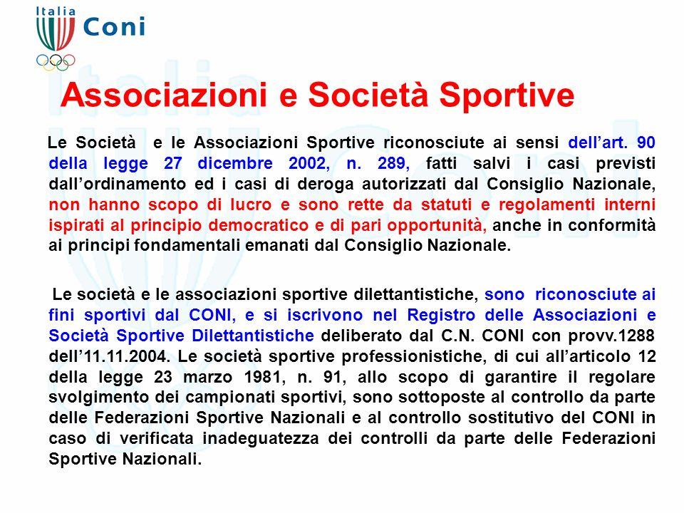 Le Società e le Associazioni Sportive riconosciute ai sensi dell'art. 90 della legge 27 dicembre 2002, n. 289, fatti salvi i casi previsti dall'ordina