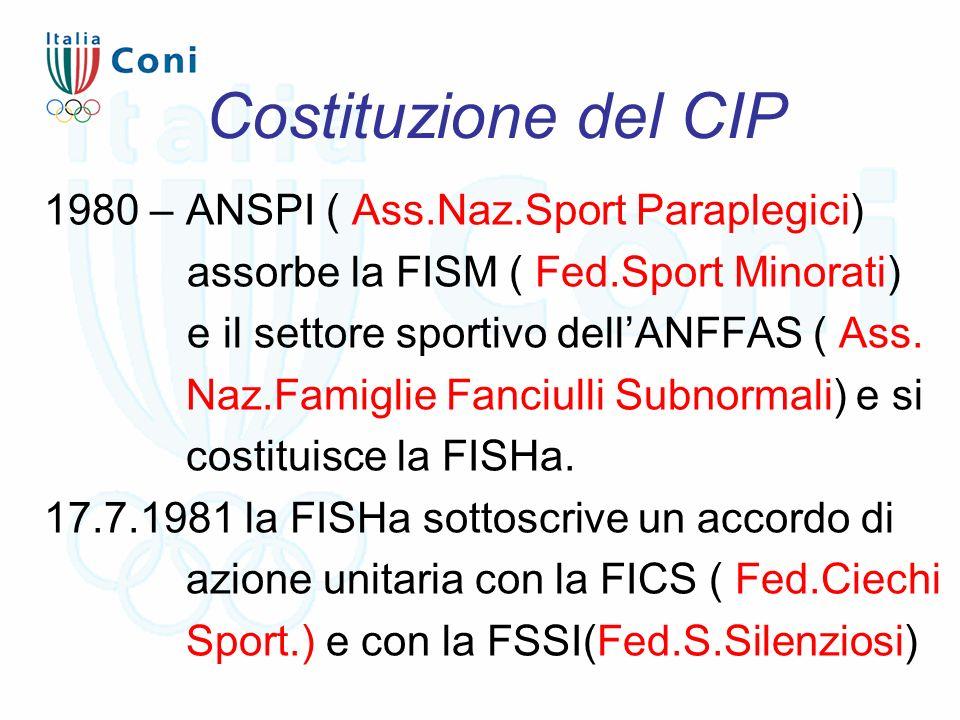 Costituzione del CIP 1980 – ANSPI ( Ass.Naz.Sport Paraplegici) assorbe la FISM ( Fed.Sport Minorati) e il settore sportivo dell'ANFFAS ( Ass. Naz.Fami