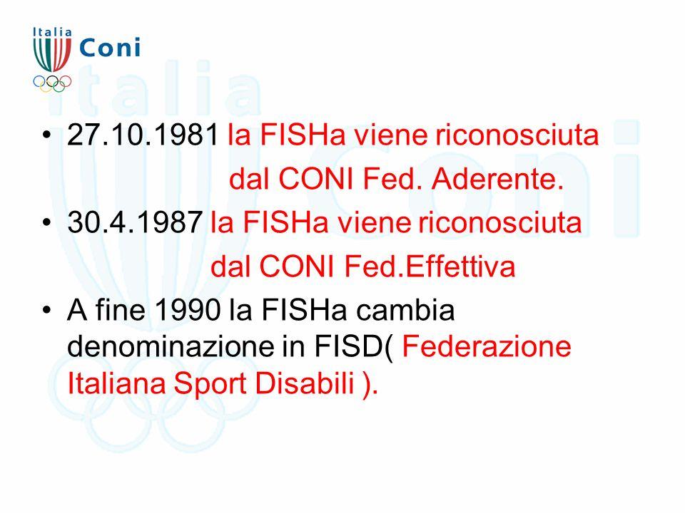 27.10.1981 la FISHa viene riconosciuta dal CONI Fed. Aderente. 30.4.1987 la FISHa viene riconosciuta dal CONI Fed.Effettiva A fine 1990 la FISHa cambi