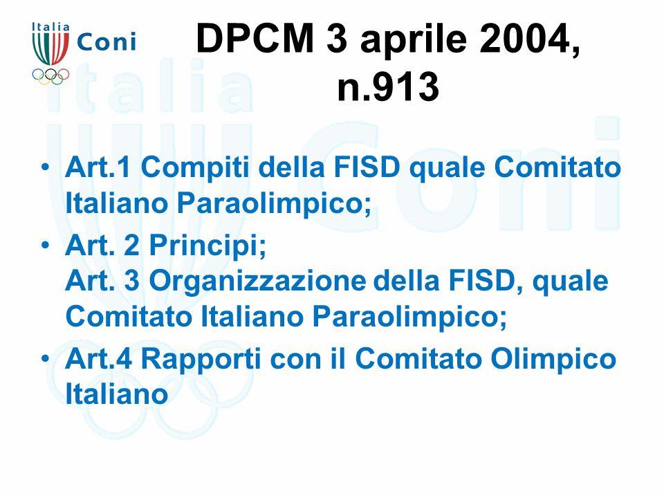 DPCM 3 aprile 2004, n.913 Art.1 Compiti della FISD quale Comitato Italiano Paraolimpico; Art. 2 Principi; Art. 3 Organizzazione della FISD, quale Comi
