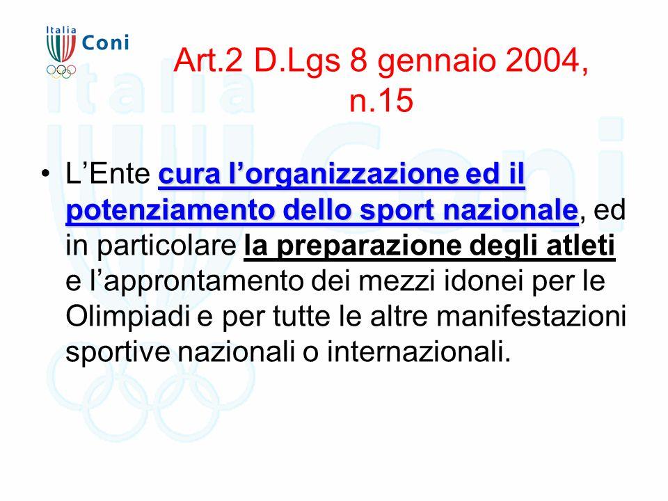 Art.2 D.Lgs 8 gennaio 2004, n.15 cura l'organizzazione ed il potenziamento dello sport nazionaleL'Ente cura l'organizzazione ed il potenziamento dello