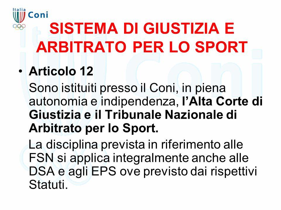SISTEMA DI GIUSTIZIA E ARBITRATO PER LO SPORT Articolo 12 Sono istituiti presso il Coni, in piena autonomia e indipendenza, l'Alta Corte di Giustizia