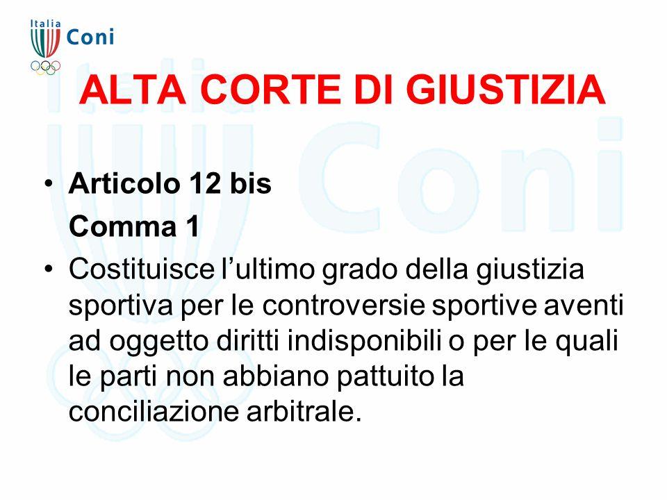 ALTA CORTE DI GIUSTIZIA Articolo 12 bis Comma 1 Costituisce l'ultimo grado della giustizia sportiva per le controversie sportive aventi ad oggetto diritti indisponibili o per le quali le parti non abbiano pattuito la conciliazione arbitrale.