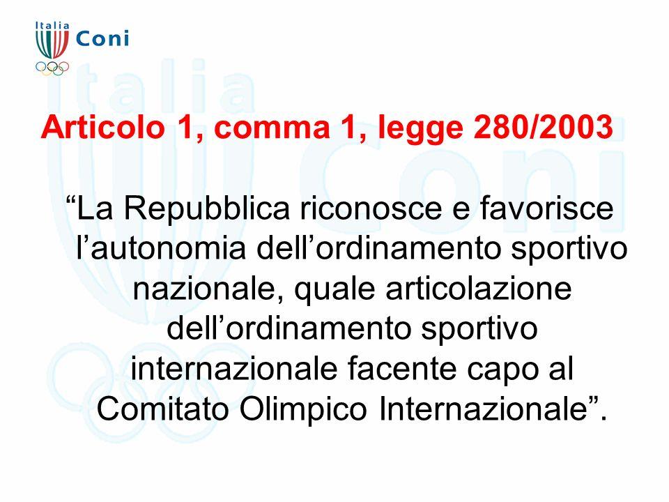 """Articolo 1, comma 1, legge 280/2003 """"La Repubblica riconosce e favorisce l'autonomia dell'ordinamento sportivo nazionale, quale articolazione dell'ord"""