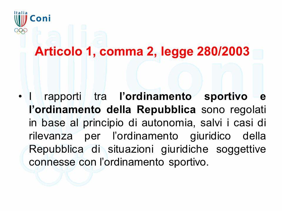 Articolo 1, comma 2, legge 280/2003 I rapporti tra l'ordinamento sportivo e l'ordinamento della Repubblica sono regolati in base al principio di autonomia, salvi i casi di rilevanza per l'ordinamento giuridico della Repubblica di situazioni giuridiche soggettive connesse con l'ordinamento sportivo.