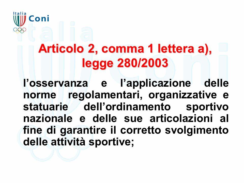 Articolo 2, comma 1 lettera a), legge 280/2003 l'osservanza e l'applicazione delle norme regolamentari, organizzative e statuarie dell'ordinamento sportivo nazionale e delle sue articolazioni al fine di garantire il corretto svolgimento delle attività sportive;