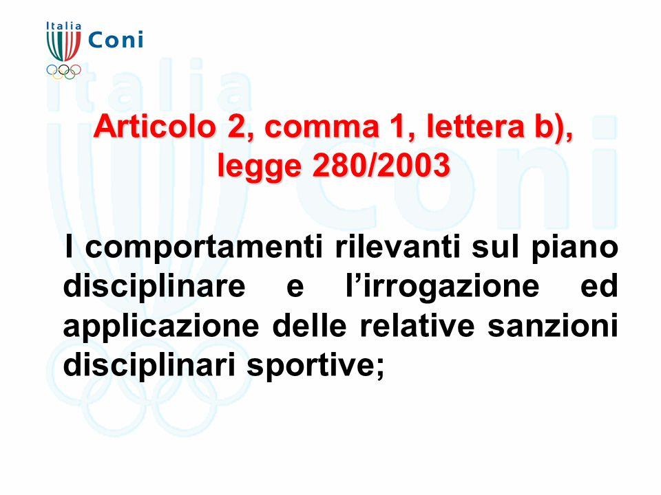 Articolo 2, comma 1, lettera b), legge 280/2003 I comportamenti rilevanti sul piano disciplinare e l'irrogazione ed applicazione delle relative sanzioni disciplinari sportive;
