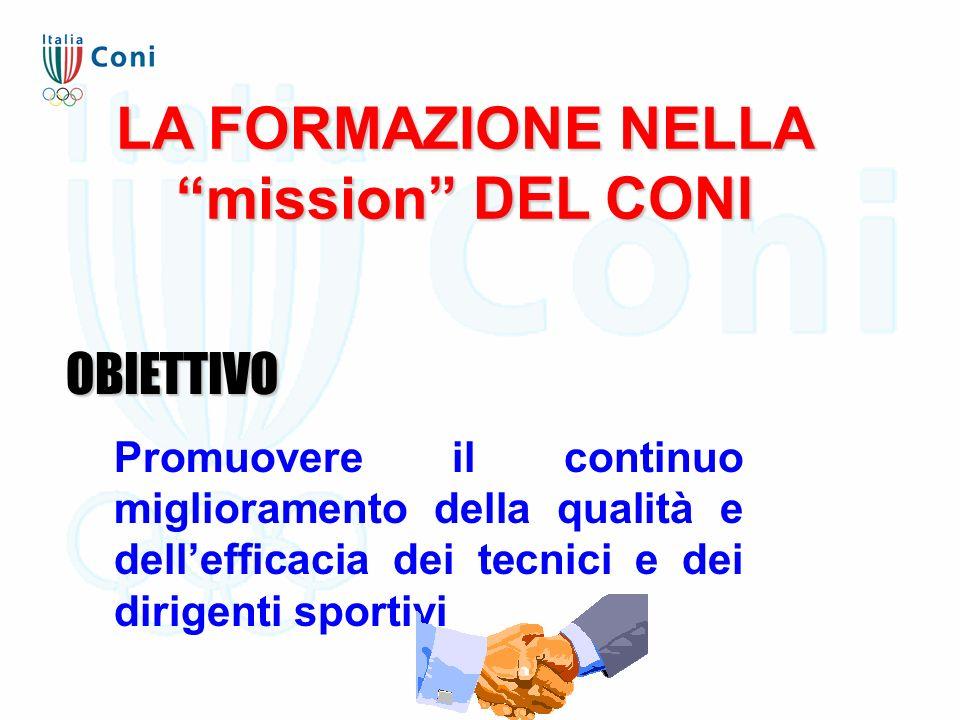 LA FORMAZIONE NELLA mission DEL CONI OBIETTIVO Promuovere il continuo miglioramento della qualità e dell'efficacia dei tecnici e dei dirigenti sportivi