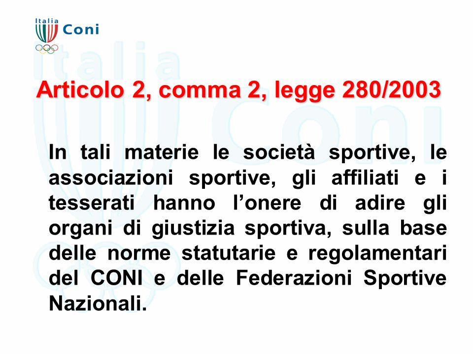 Articolo 2, comma 2, legge 280/2003 In tali materie le società sportive, le associazioni sportive, gli affiliati e i tesserati hanno l'onere di adire