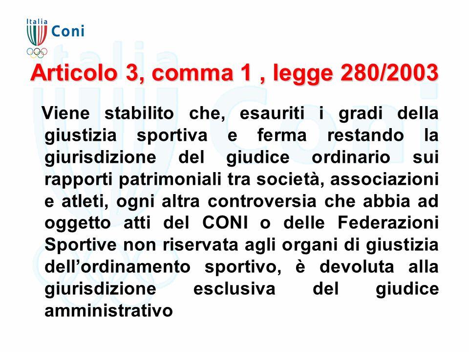 Articolo 3, comma 1, legge 280/2003 Viene stabilito che, esauriti i gradi della giustizia sportiva e ferma restando la giurisdizione del giudice ordin