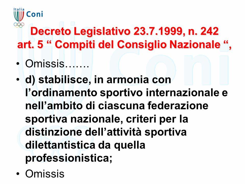 """Decreto Legislativo 23.7.1999, n. 242 art. 5 """" Compiti del Consiglio Nazionale """", Omissis……. d) stabilisce, in armonia con l'ordinamento sportivo inte"""