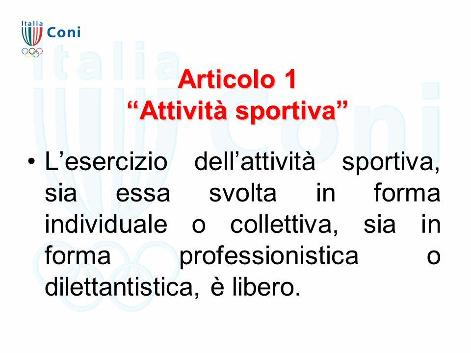 """Articolo 1 """"Attività sportiva"""" L'esercizio dell'attività sportiva, sia essa svolta in forma individuale o collettiva, sia in forma professionistica o"""