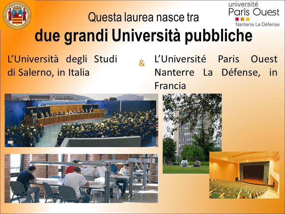 Questa laurea nasce tra due grandi Università pubbliche L'Università degli Studi di Salerno, in Italia & L'Université Paris Ouest Nanterre La Défense, in Francia