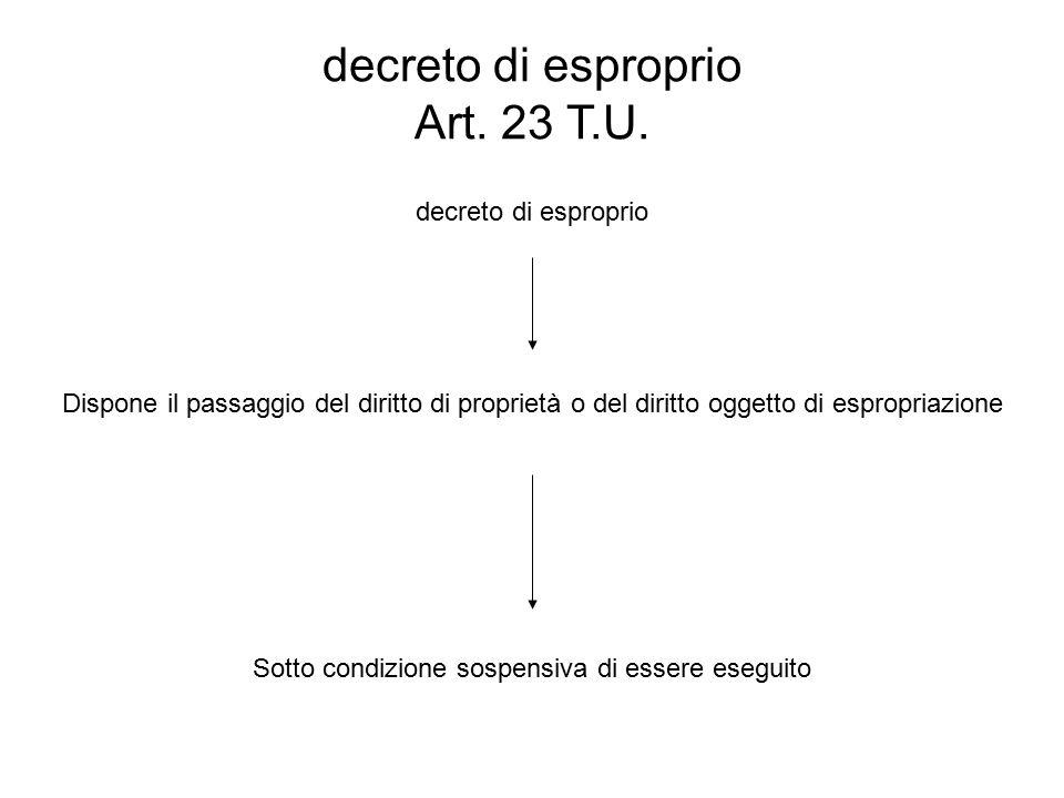 decreto di esproprio Art. 23 T.U. decreto di esproprio Dispone il passaggio del diritto di proprietà o del diritto oggetto di espropriazione Sotto con