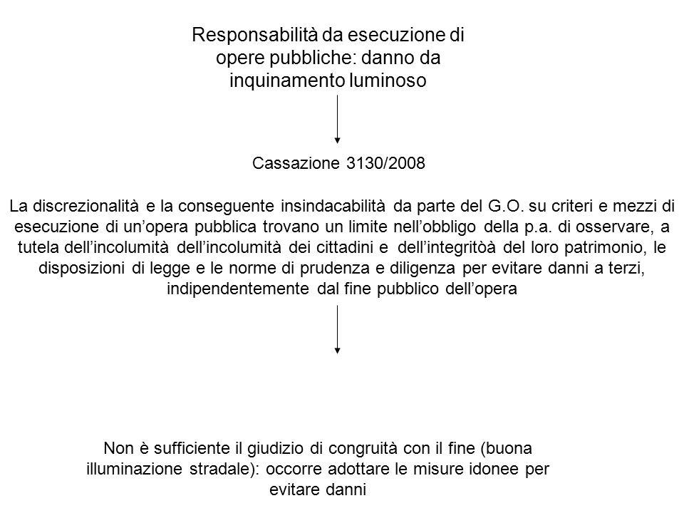 Responsabilità da esecuzione di opere pubbliche: danno da inquinamento luminoso La discrezionalità e la conseguente insindacabilità da parte del G.O.