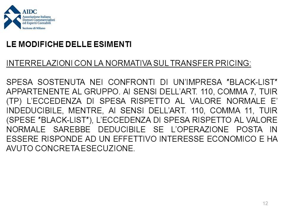 LE MODIFICHE DELLE ESIMENTI INTERRELAZIONI CON LA NORMATIVA SUL TRANSFER PRICING: SPESA SOSTENUTA NEI CONFRONTI DI UN'IMPRESA ″BLACK-LIST″ APPARTENENT