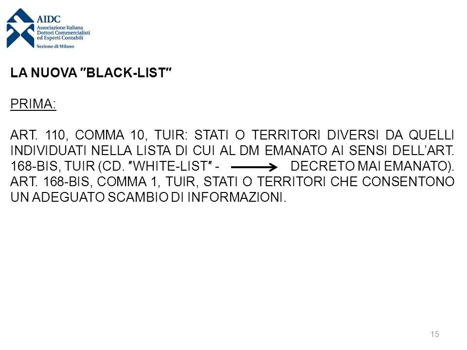 LA NUOVA ″BLACK-LIST″ PRIMA: ART. 110, COMMA 10, TUIR: STATI O TERRITORI DIVERSI DA QUELLI INDIVIDUATI NELLA LISTA DI CUI AL DM EMANATO AI SENSI DELL'