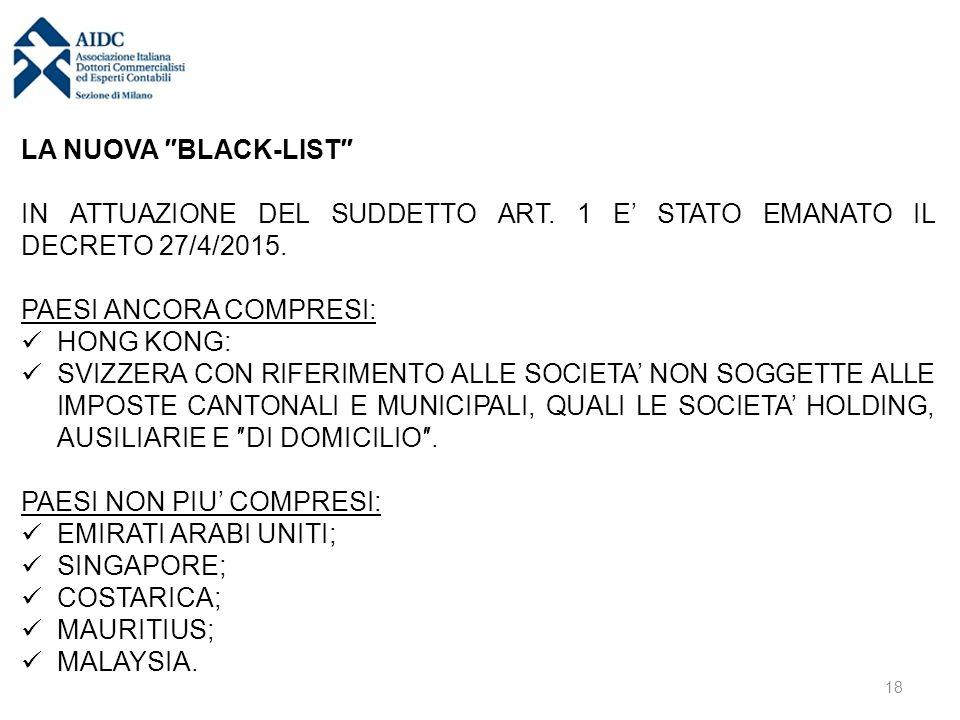 LA NUOVA ″BLACK-LIST″ IN ATTUAZIONE DEL SUDDETTO ART. 1 E' STATO EMANATO IL DECRETO 27/4/2015. PAESI ANCORA COMPRESI: HONG KONG: SVIZZERA CON RIFERIME