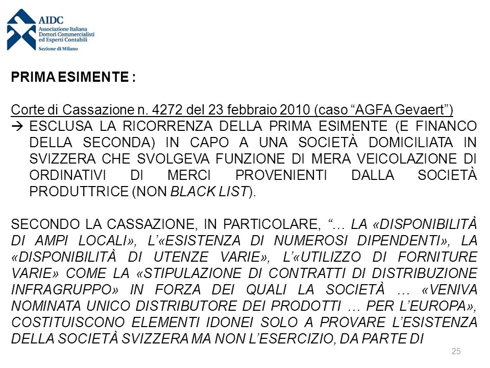 PRIMA ESIMENTE : Corte di Cassazione n.