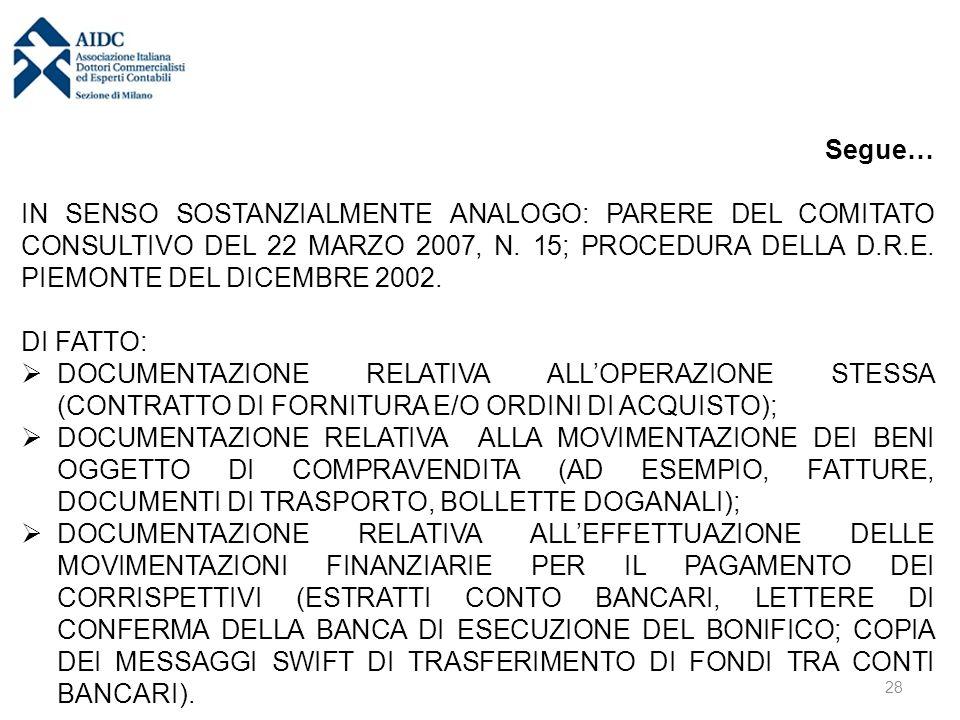 Segue… IN SENSO SOSTANZIALMENTE ANALOGO: PARERE DEL COMITATO CONSULTIVO DEL 22 MARZO 2007, N.