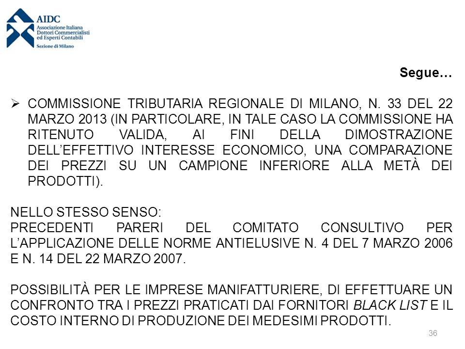 Segue…  COMMISSIONE TRIBUTARIA REGIONALE DI MILANO, N. 33 DEL 22 MARZO 2013 (IN PARTICOLARE, IN TALE CASO LA COMMISSIONE HA RITENUTO VALIDA, AI FINI
