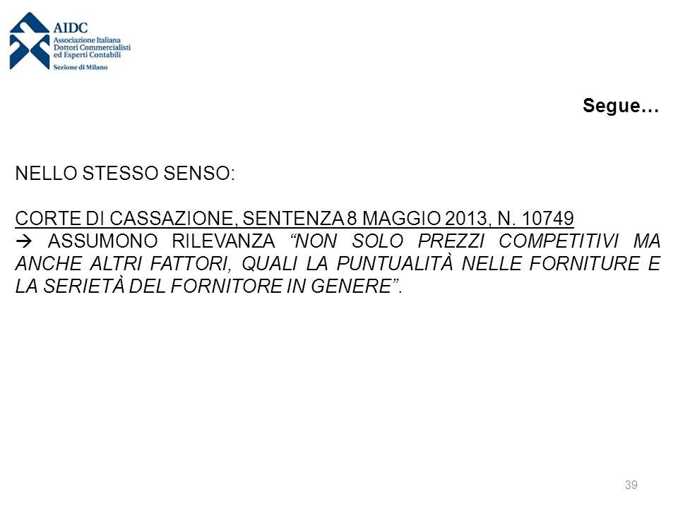 """Segue… NELLO STESSO SENSO: CORTE DI CASSAZIONE, SENTENZA 8 MAGGIO 2013, N. 10749  ASSUMONO RILEVANZA """"NON SOLO PREZZI COMPETITIVI MA ANCHE ALTRI FATT"""